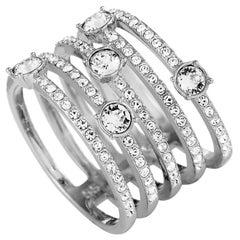 Swarovski Creativity Rhodium-Plated Crystal Wide Ring