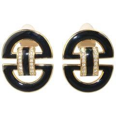 Swarovski Crystal Black Enamel Door Knocker Earrings