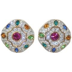 Swarovski Crystal Multi Color Rhinestone Clip On Earrings