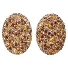 Swarovski Crystal Rhinestone Brown Clip On Earrings