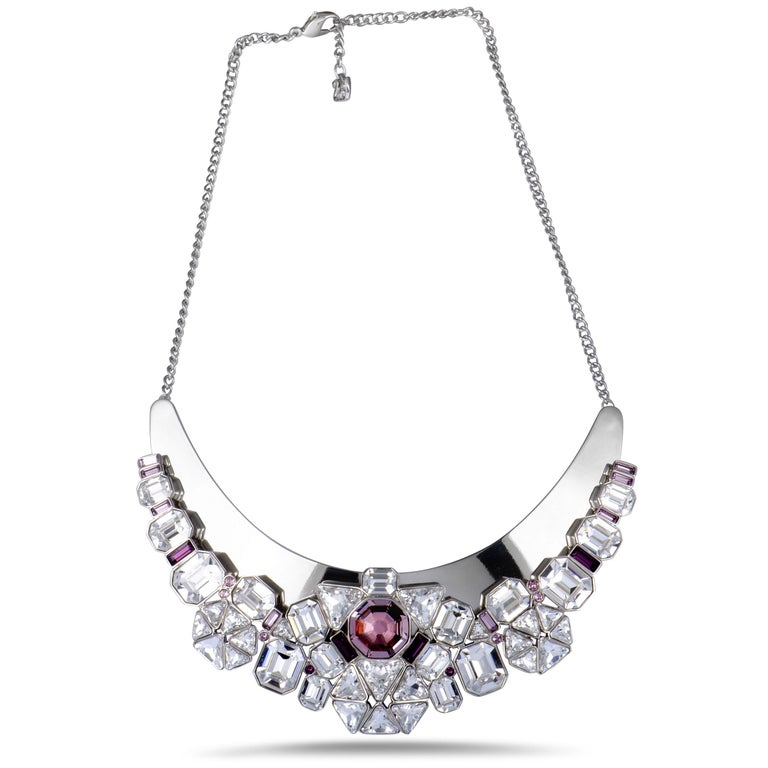 Swarovski Diana Clear and Pink Crystal Necklace In New Condition For Sale In Southhampton, PA
