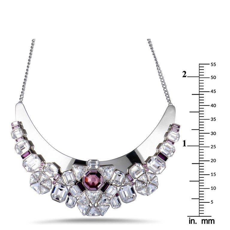 Women's Swarovski Diana Clear and Pink Crystal Necklace For Sale