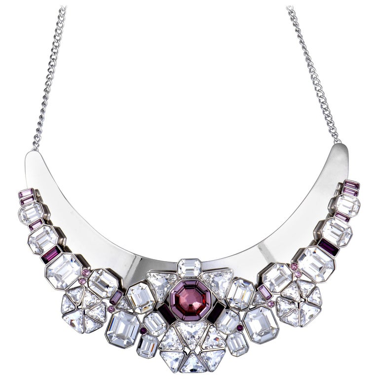 Swarovski Diana Clear and Pink Crystal Necklace For Sale