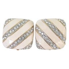 Swarovski Earrings Crystal Cream Square  New, Never Worn