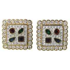 Swarovski Earrings Crystal Multi colored Square New and Never worn -1980s