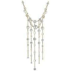 Swarovski Elegance White Gold-Plated Crystal, Crystal Pearl and Crystal Pave Nec