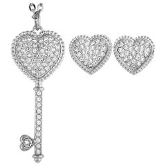 Swarovski Engaged Heart Stainless Steel and Crystal Heart Stud Earrings and Neck