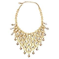 Swarovski Faceted Crystal Gray Bib Necklace French Vintage Paco Rabanne Attrib.