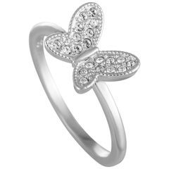 Swarovski Field Stainless Steel Rhodium-Plated Crystal Butterfly Ring