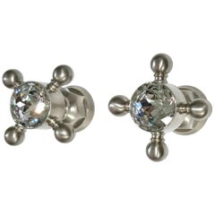 Swarovski for Rohl Brushed Nickel Captains Wheel Regency Handles, Knobs, Italy
