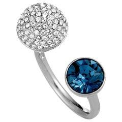 Swarovski Forward Rhodium-Plated White and Blue Crystal Ring
