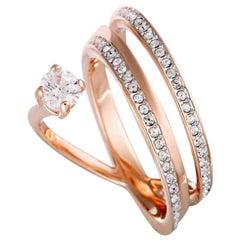 Swarovski Fresh Rose Gold-Plated Crystal Swirl Ring