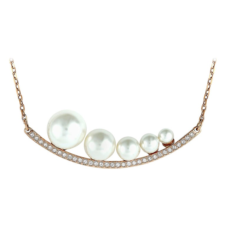 Swarovski Fundamental Crystal and Crystal Pearl Necklace For Sale