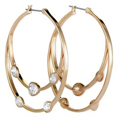 Swarovski Gaze Rose Gold-Plated Crystal Hoop Earrings