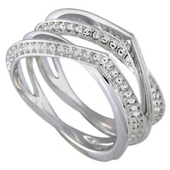 Swarovski Genius Rhodium-Plated and Crystal Double Band Ring