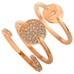 Swarovski Ginger Rose Gold-Plated Crystal Three-Ring Set