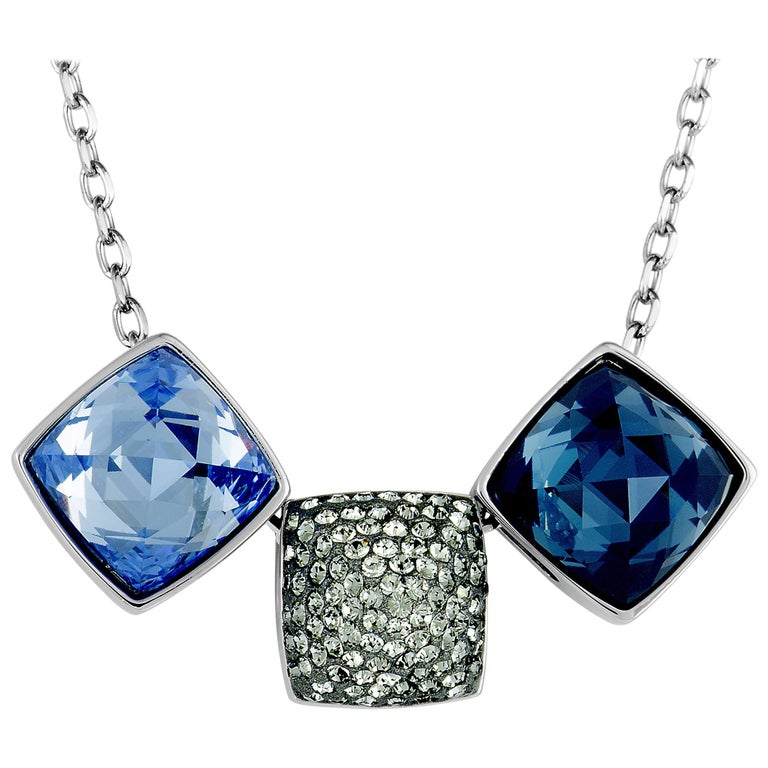 Swarovski Glance Rhodium-Plated Crystal Necklace For Sale ...