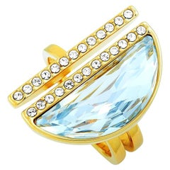 Swarovski Glow Yellow Gold-Plated Stainless Steel and Crystal Ring