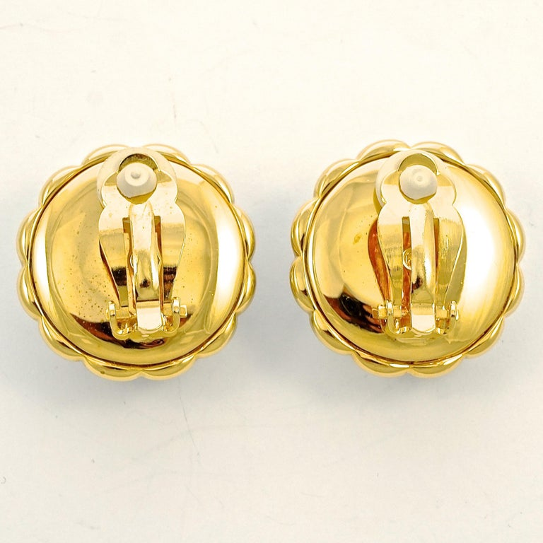 Round Cut Swarovski Gold Plated Amber and Clear Pavé Crystal Swan Logo Clip On Earrings For Sale