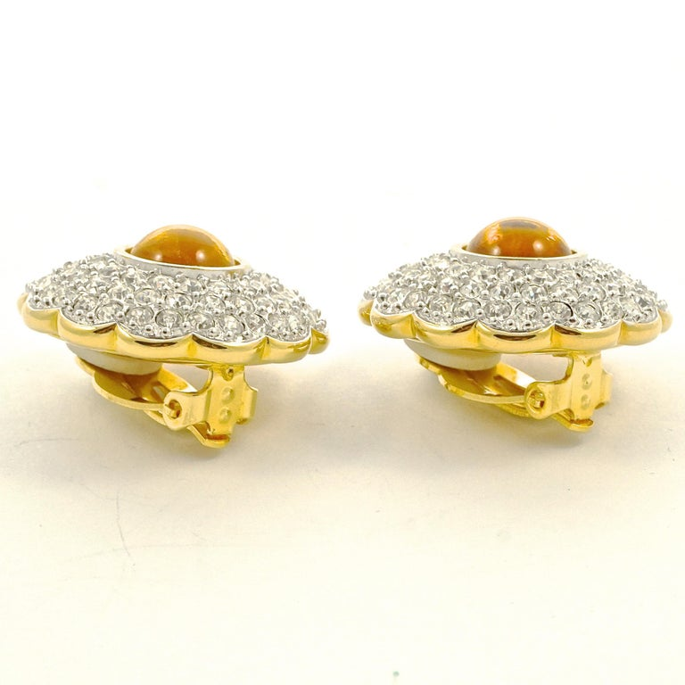 Swarovski Gold Plated Amber and Clear Pavé Crystal Swan Logo Clip On Earrings For Sale 2