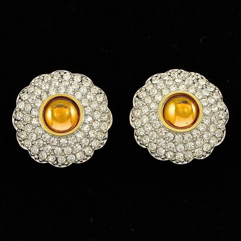 Swarovski Gold Plated Amber and Clear Pavé Crystal Swan Logo Clip On Earrings For Sale 3