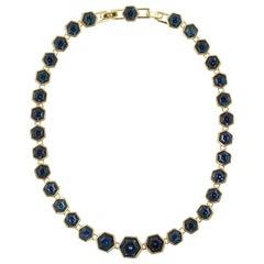 Swarovski Gold Plated Hexagonal Mid Blue Crystal Link Necklace circa 1980s