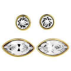 Swarovski Harley Gold-Plated and Crystal Pierced Earrings Set