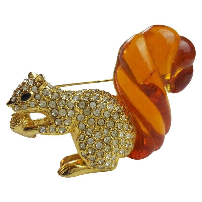 Swarovski Rhinestone & Amber Lucite Squirrel Nolan Miller Brooch Pin Estate Find For Sale