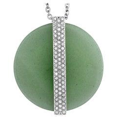 Swarovski Rhodium-Plated Crystal Pave Green Disk Pendant Necklace