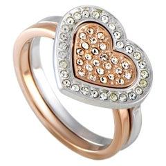 Swarovski Rhodium-Plated Crystal Pave Heart Two Ring Set