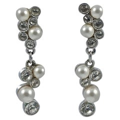 Swarovski Silver Tone Clear Crystal and White Faux Pearl Swan Logo Drop Earrings