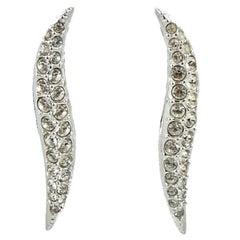 Swarovski Silver Tone Clear Crystal Swan Logo Long Earrings