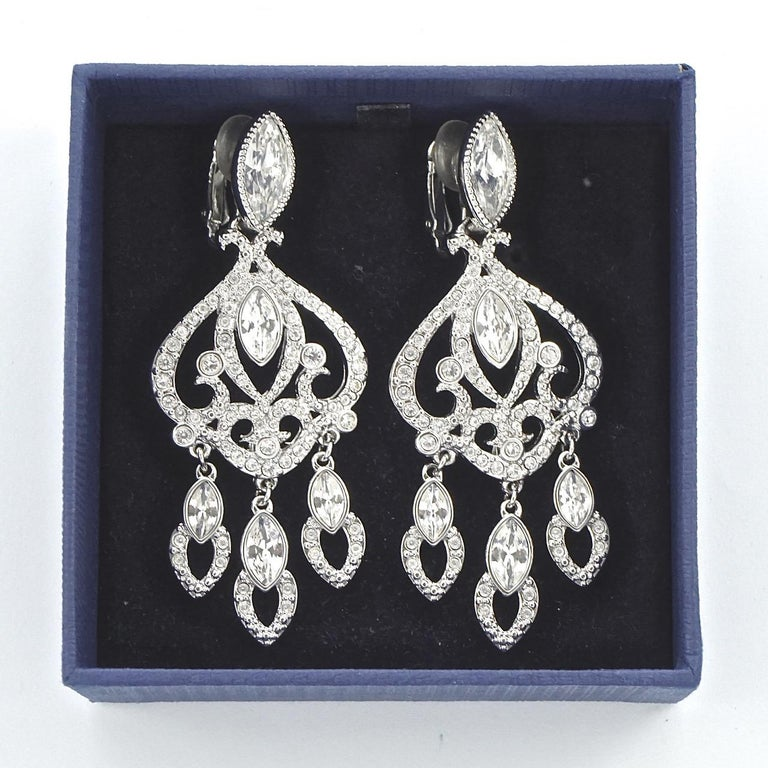 Swarovski Silver Tone Marquise and Round Crystal Swan Logo Chandelier Earrings For Sale 5