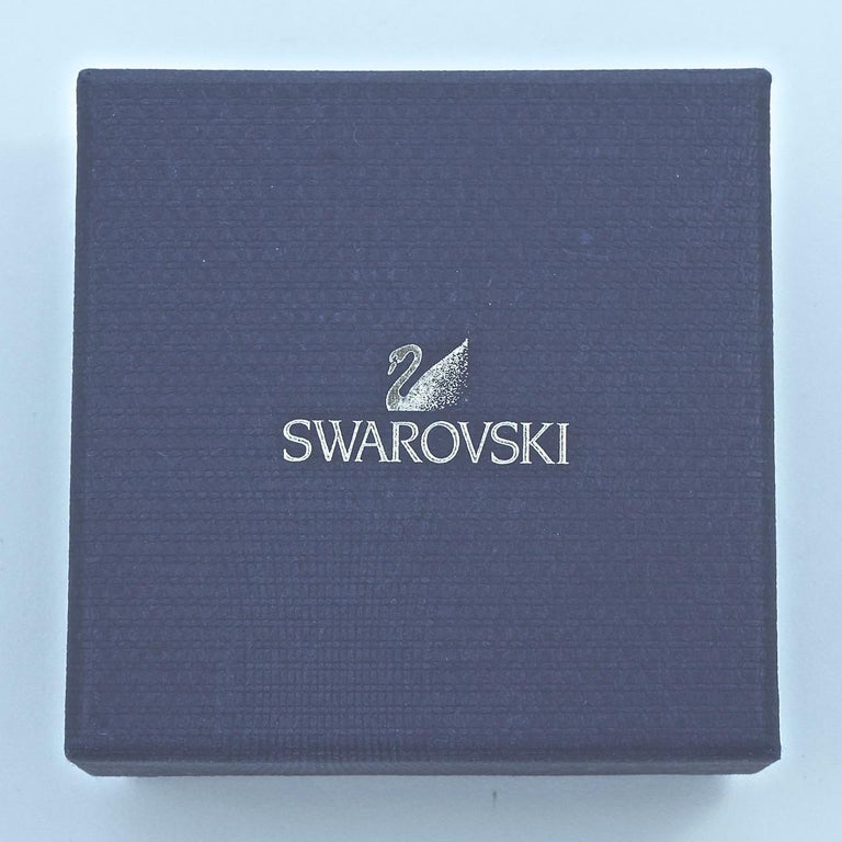 Swarovski Silver Tone Marquise and Round Crystal Swan Logo Chandelier Earrings For Sale 6