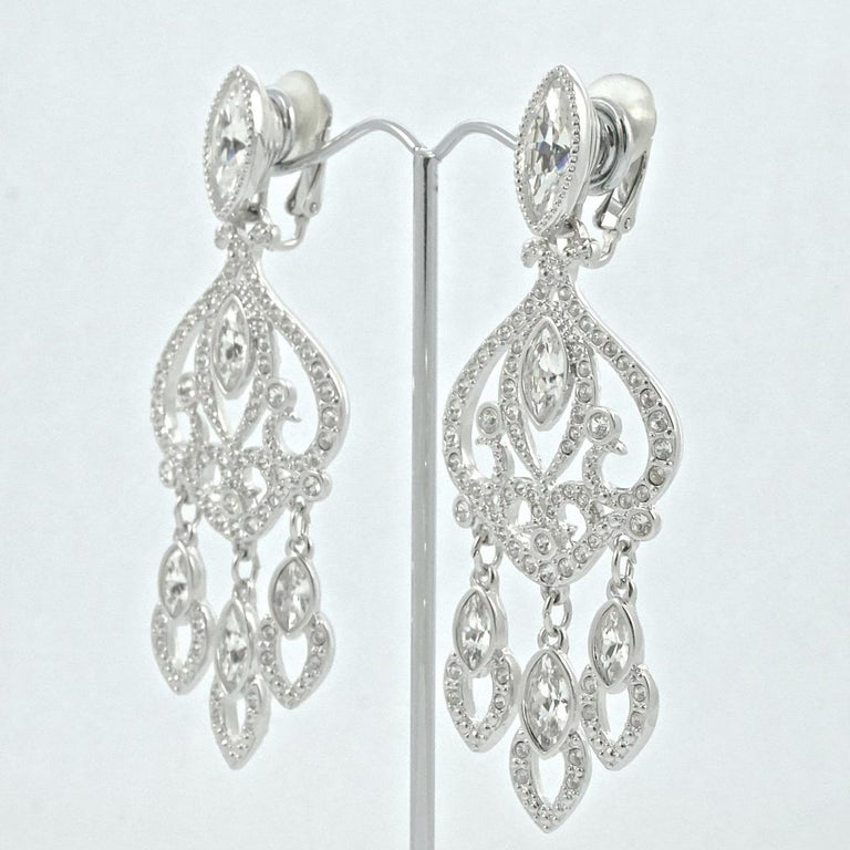 Swarovski Silver Tone Marquise and Round Crystal Swan Logo Chandelier Earrings For Sale 1