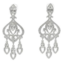 Swarovski Silver Tone Marquise and Round Crystal Swan Logo Chandelier Earrings