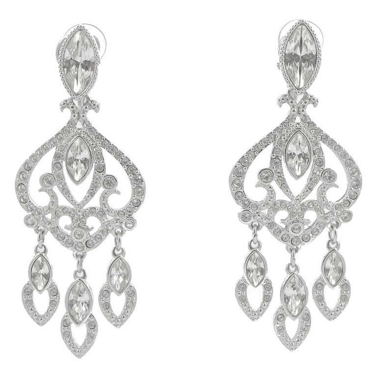 Swarovski Silver Tone Marquise and Round Crystal Swan Logo Chandelier Earrings For Sale