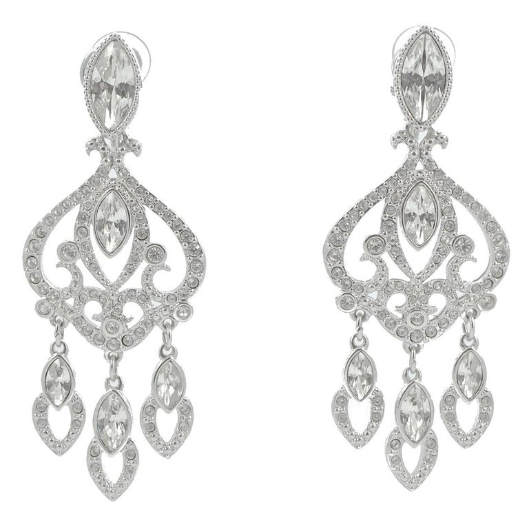 Marquise Cut Swarovski Silver Tone Marquise and Round Crystal Swan Logo Chandelier Earrings For Sale