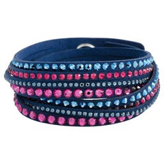Swarovski Slake Dark Blue and Pink Suede Bracelet 5194200-M - Medium