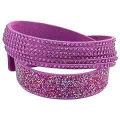 Swarovski Slake Purple Fabric and Crystal Bracelet Size Medium