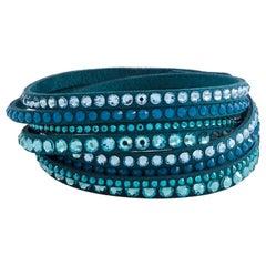 Swarovski Slake Teal 2 in 1 Suede Wrap Bracelet 5043496-M- Medium