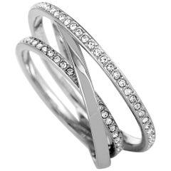 Swarovski Spiral Stainless Steel Rhodium-Plated Crystal Ring