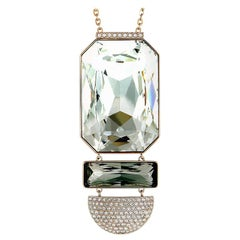 Swarovski Stainless Steel Rose Gold-Plated and Crystal Pendant Long Chain Neckla