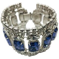 Swarovski Tanzanite and Vintage Crystal Flex Cuff Bracelet