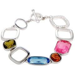 Swarovski Te Ilana Stainless Steel and Multi-Color Crystal Link Toggle Bracelet