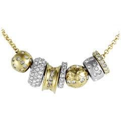Swarovski Te Kauri Yellow Gold and Rhodium-Plated Crystal Pave Slider Bead Neckl
