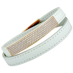 Swarovski Vio Stainless Steel Gold-Plated and White Leather Crystal Pave Bracele