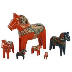 Sweden Folk Art, Collection of Six Vintage Swedish Dala Horses by Nils Olsson