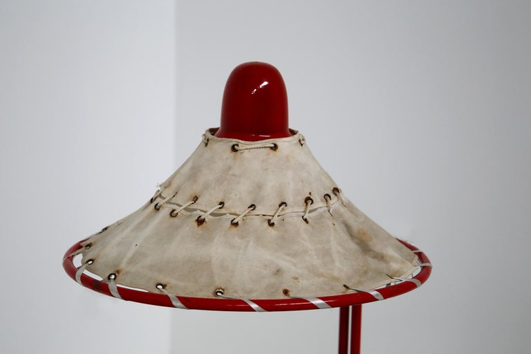 Sweden Table Lamps by Ingrid of Sweden in Aluminum Red and Linen Cotton, 1970s For Sale 7