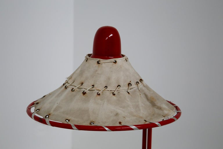 Swedish Sweden Table Lamps by Ingrid of Sweden in Aluminum Red and Linen Cotton, 1970s For Sale